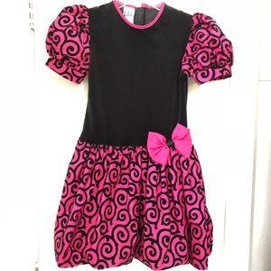 KLL Girls Black/Pink Velvet Dress, size 12